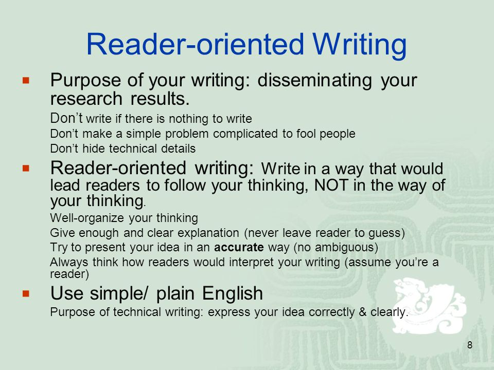 Reader-oriented Writing