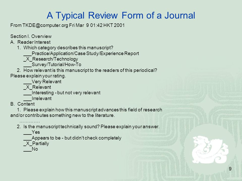A Typical Review Form of a Journal