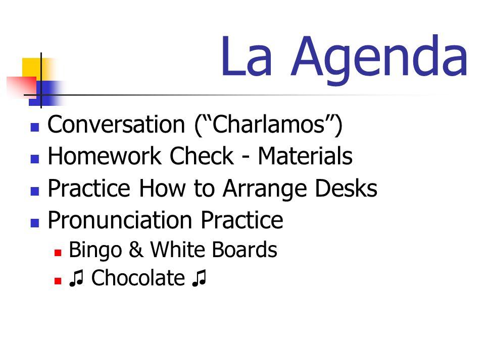 La Agenda Conversation ( Charlamos ) Homework Check - Materials