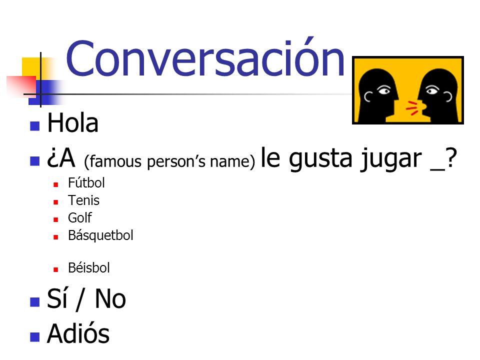 Conversación Hola ¿A (famous person's name) le gusta jugar _ Sí / No