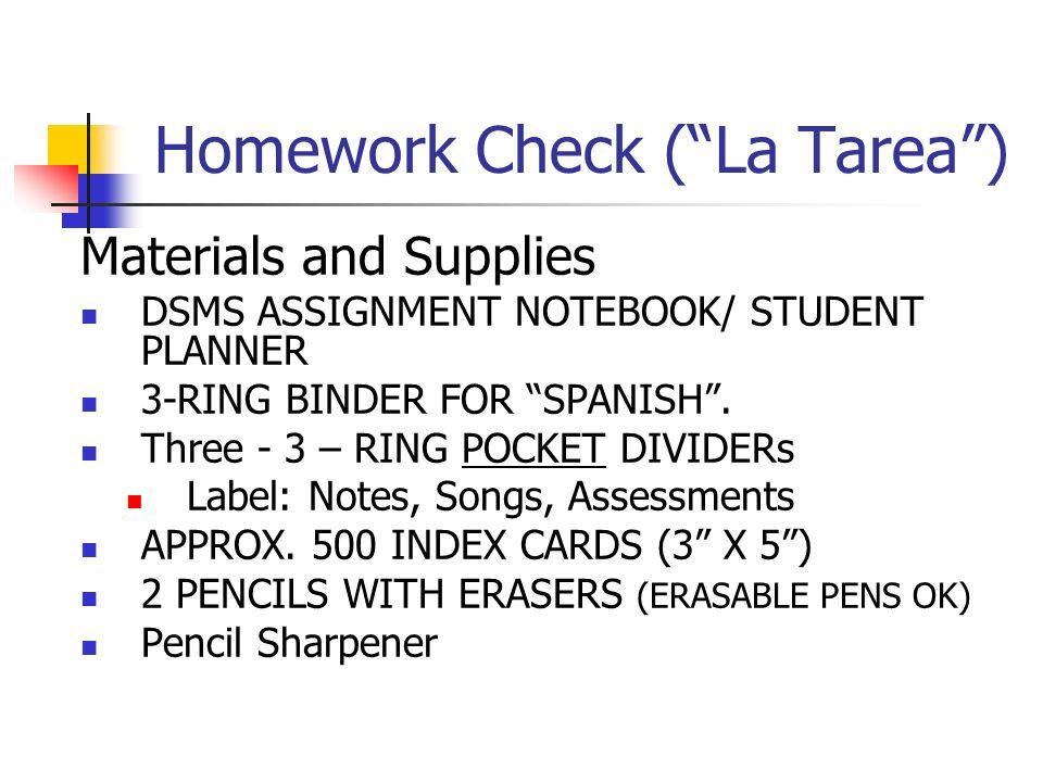 Homework Check ( La Tarea )