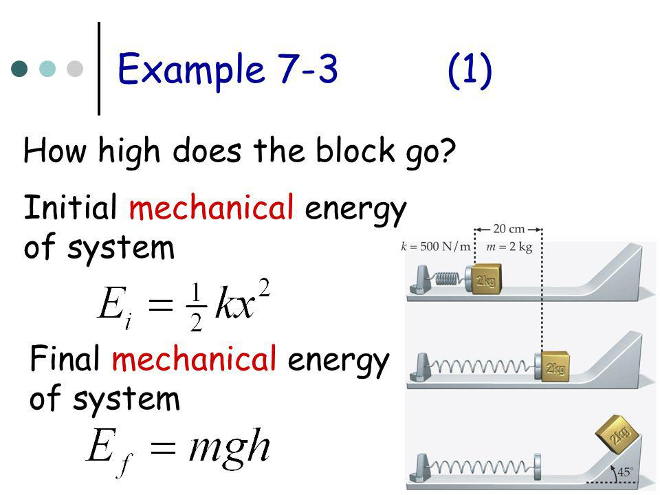 Example 7-3 (1) How high does the block go Initial mechanical energy