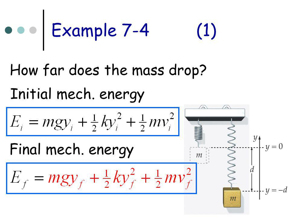 Example 7-4 (1) How far does the mass drop Initial mech. energy