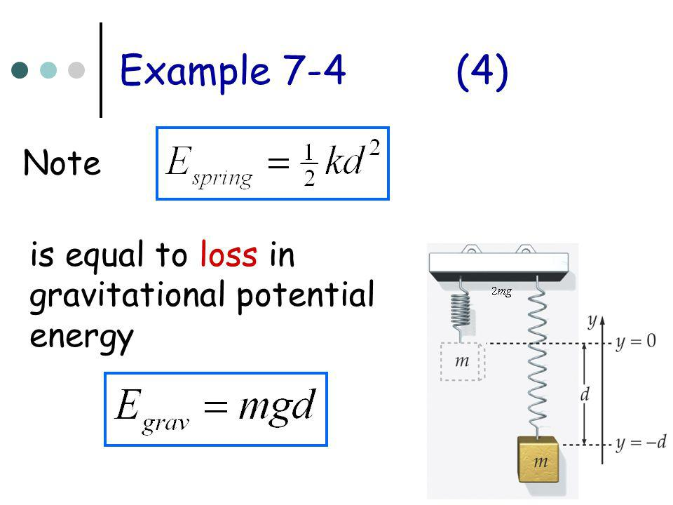 Example 7-4 (4) Note is equal to loss in gravitational potential