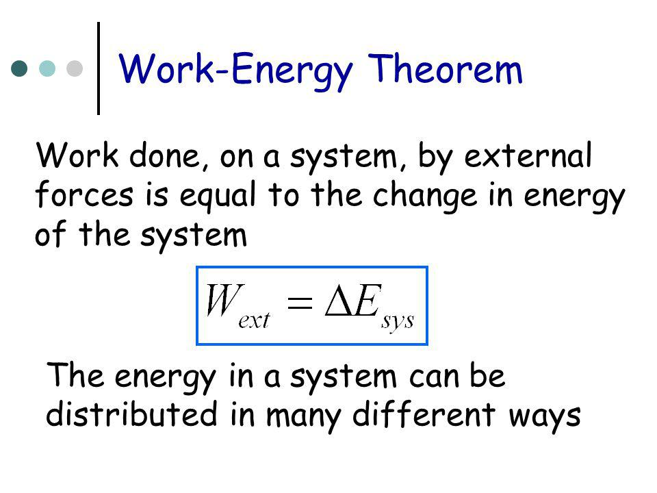 Work-Energy Theorem Work done, on a system, by external