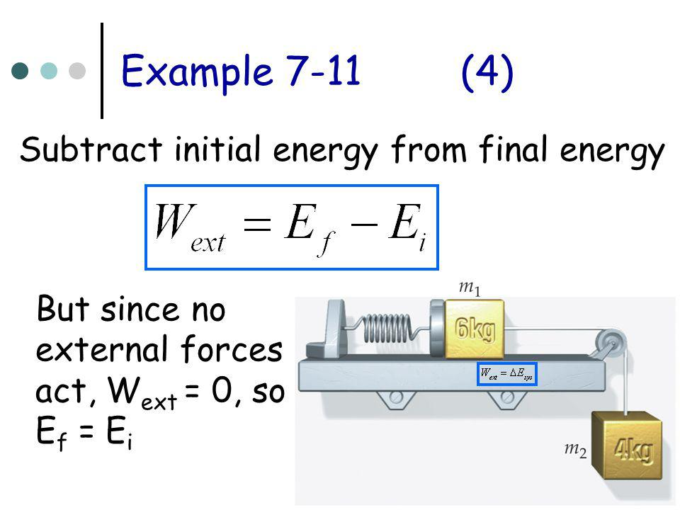 Example 7-11 (4) Subtract initial energy from final energy