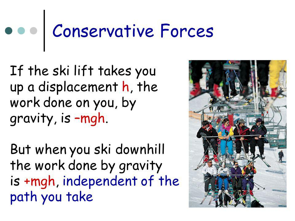 Conservative Forces If the ski lift takes you up a displacement h, the