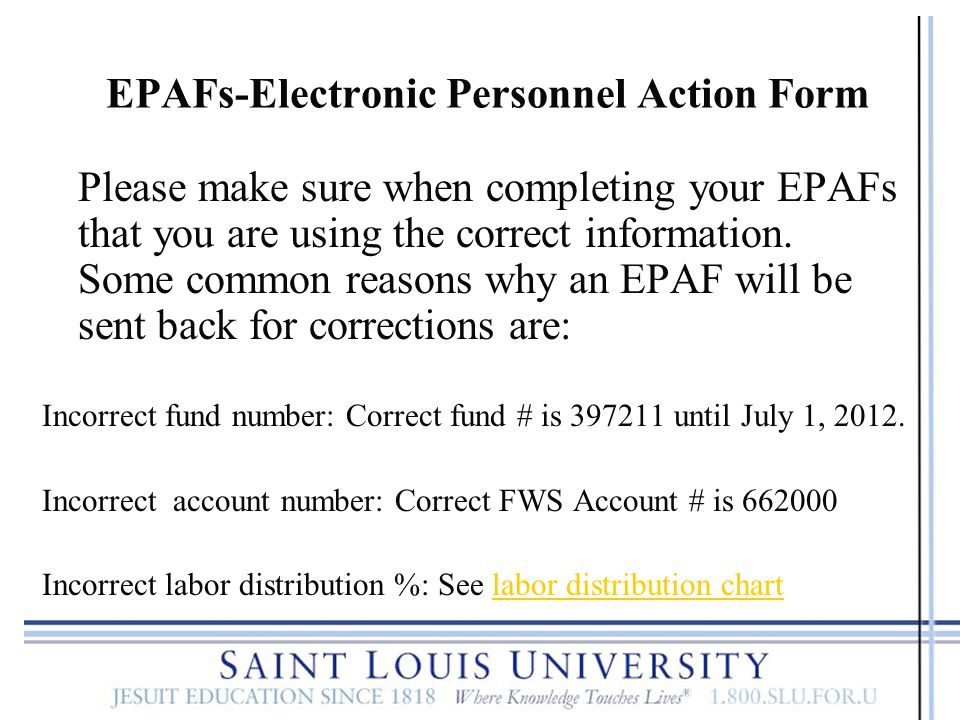 EPAFs-Electronic Personnel Action Form