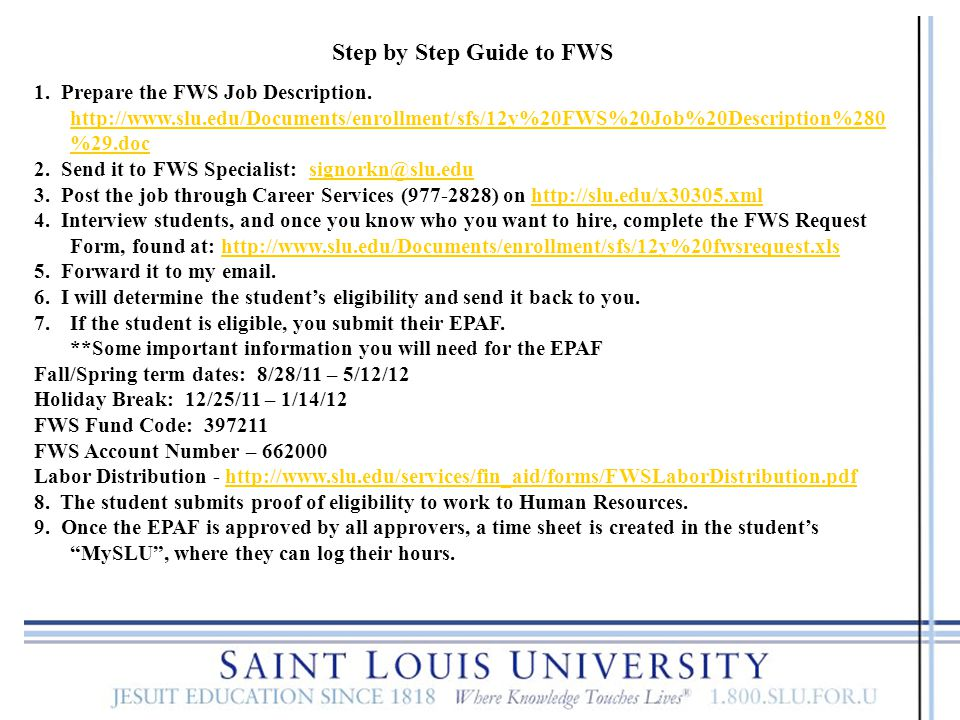 Step by Step Guide to FWS