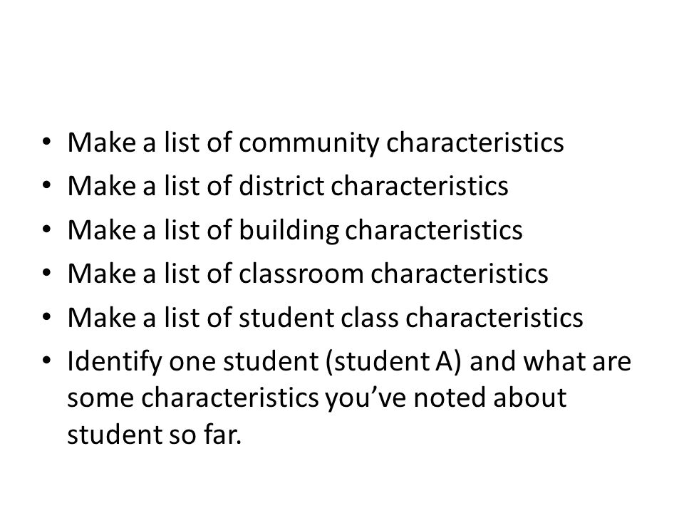Make a list of community characteristics