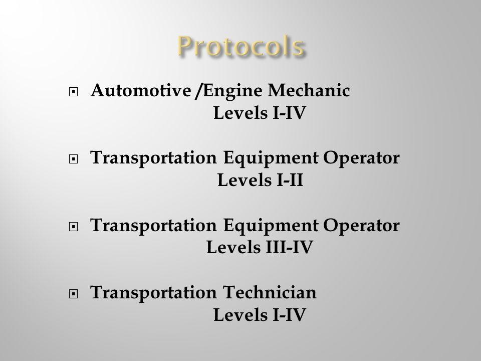 Protocols Automotive /Engine Mechanic Levels I-IV