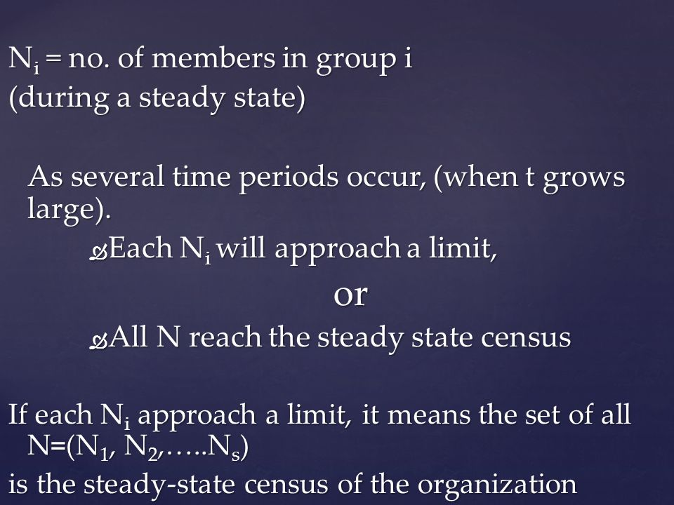 or Ni = no. of members in group i (during a steady state)