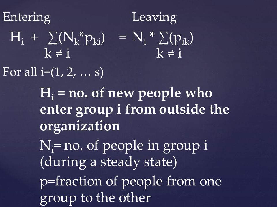 Hi = no. of new people who enter group i from outside the organization