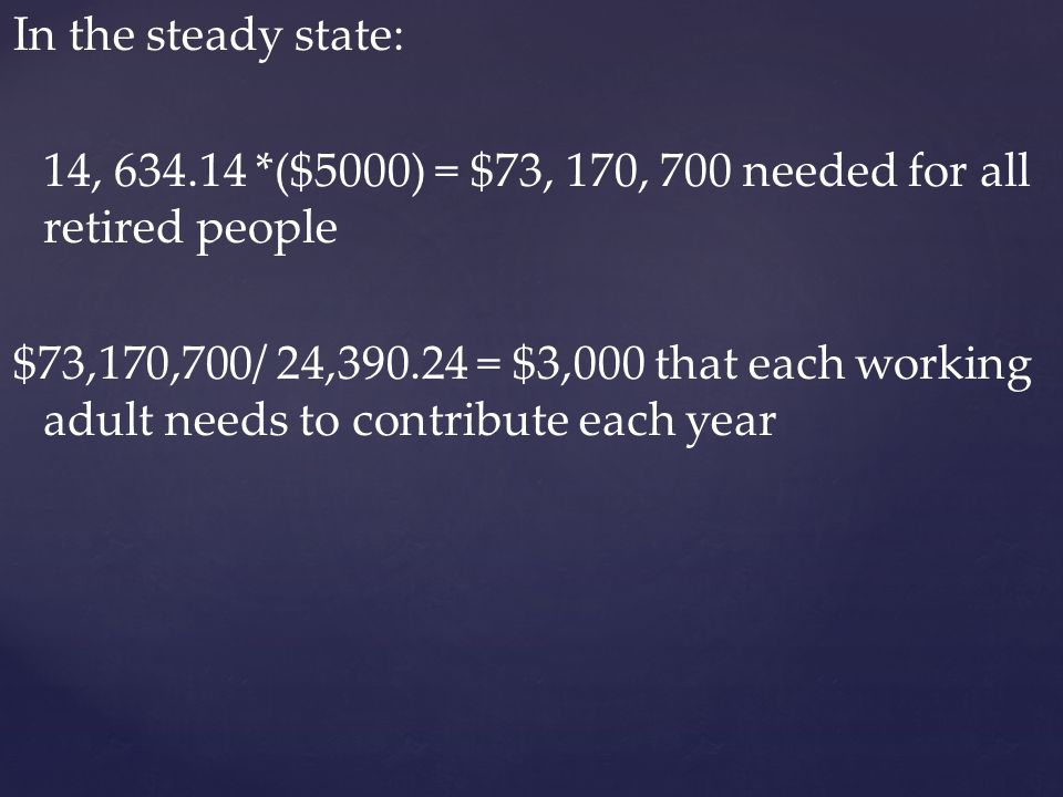 In the steady state: 14, 634.14 *($5000) = $73, 170, 700 needed for all retired people $73,170,700/ 24,390.24 = $3,000 that each working adult needs to contribute each year