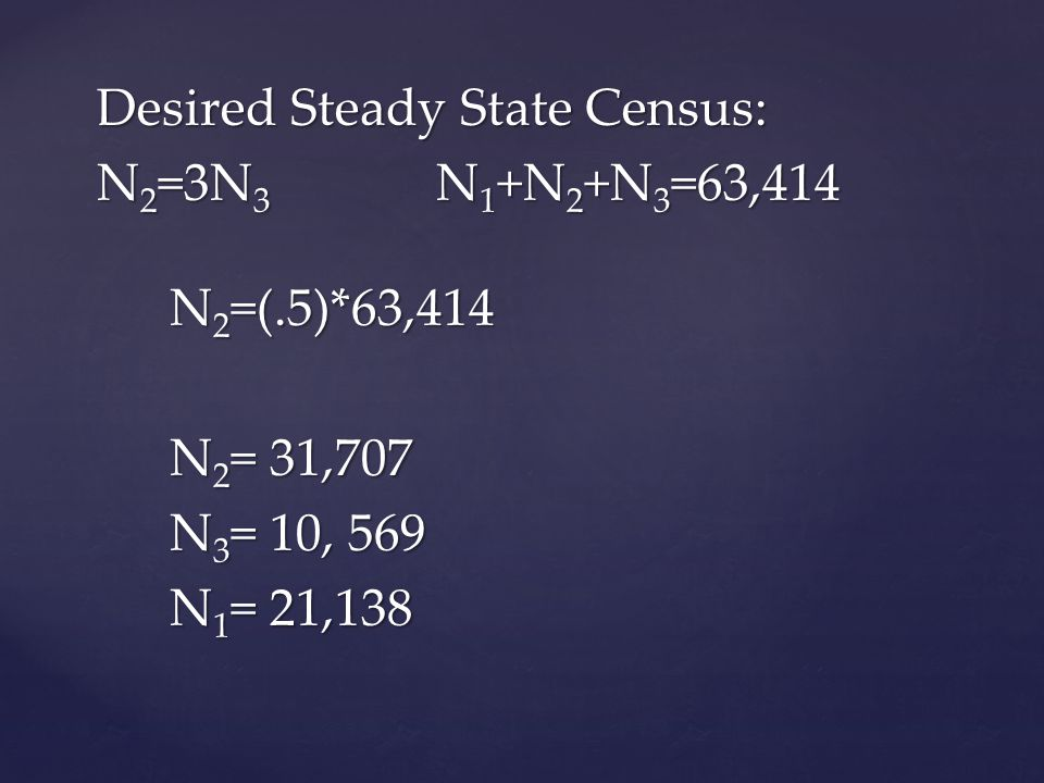 Desired Steady State Census: