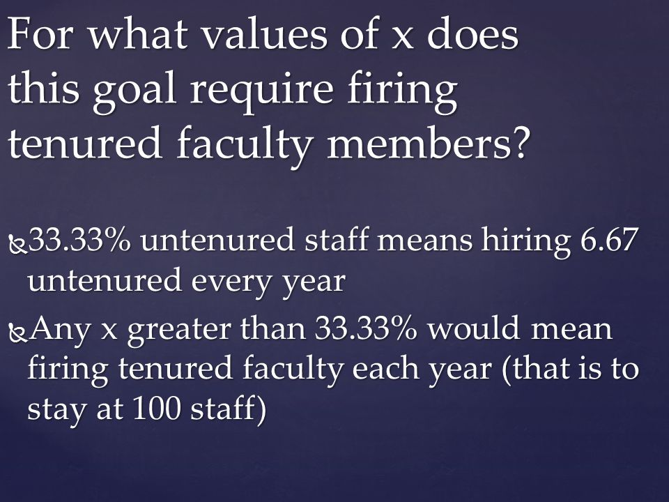 For what values of x does this goal require firing tenured faculty members
