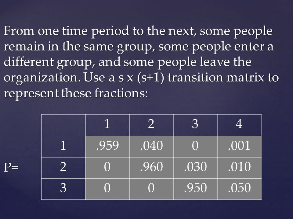 From one time period to the next, some people remain in the same group, some people enter a different group, and some people leave the organization. Use a s x (s+1) transition matrix to represent these fractions: