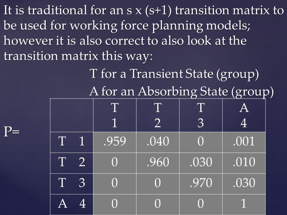 It is traditional for an s x (s+1) transition matrix to be used for working force planning models; however it is also correct to also look at the transition matrix this way: