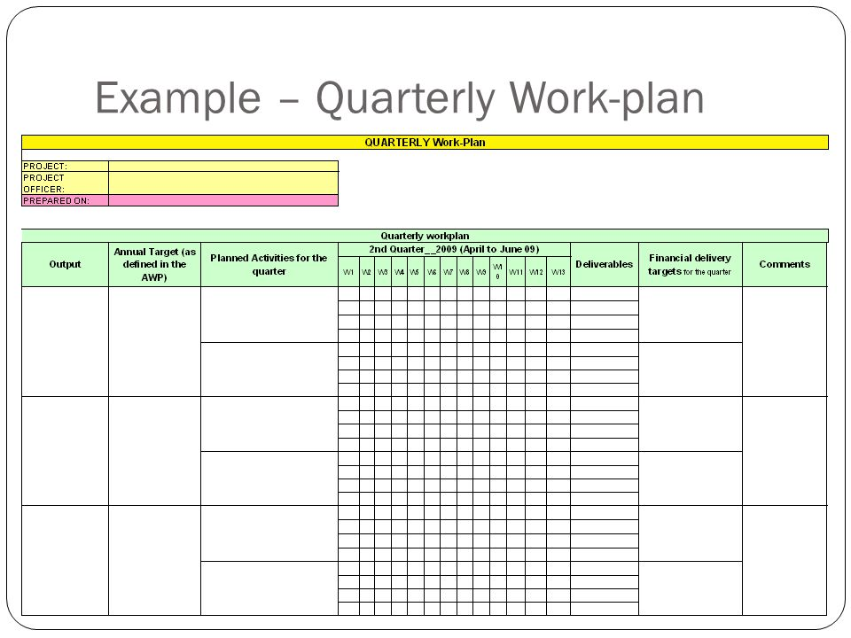 Example – Quarterly Work-plan