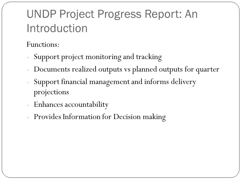 UNDP Project Progress Report: An Introduction