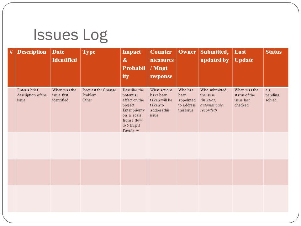Issues Log # Description Date Identified Type Impact & Probability