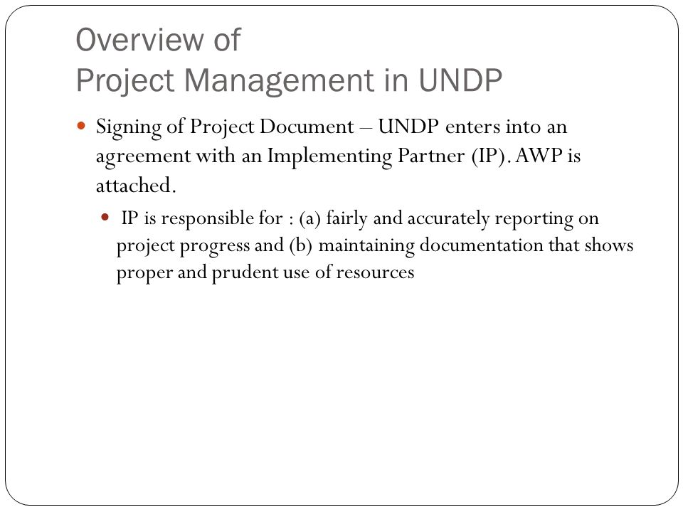 Overview of Project Management in UNDP