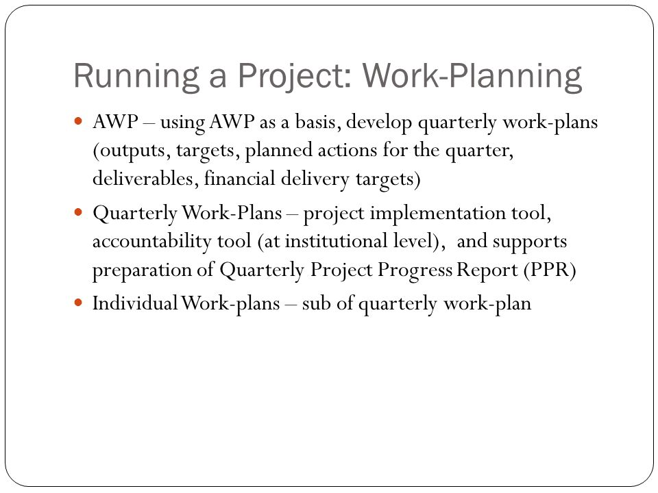 Running a Project: Work-Planning