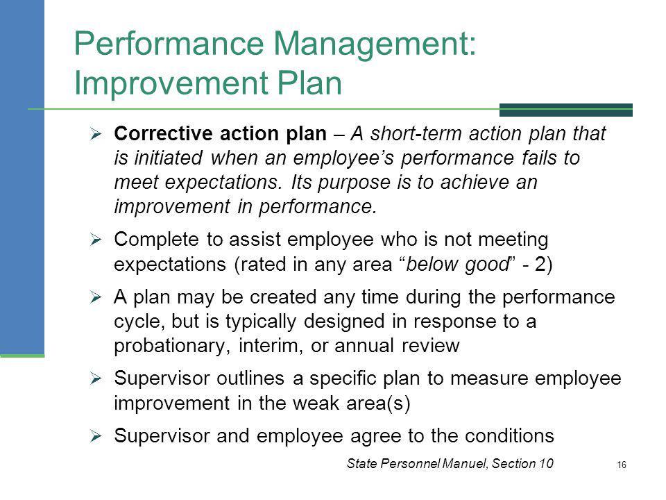 Performance Management: Improvement Plan