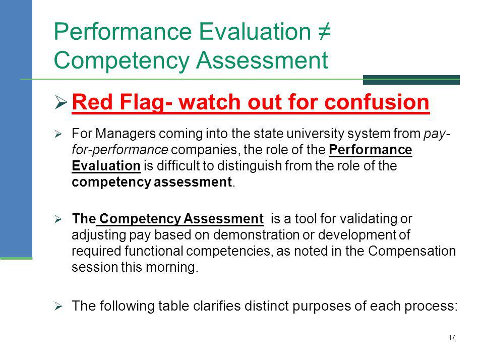 Performance Evaluation ≠ Competency Assessment