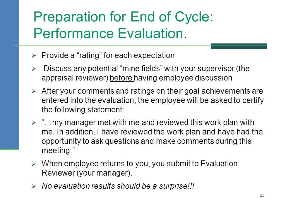 Preparation for End of Cycle: Performance Evaluation.