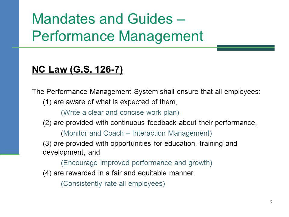 Mandates and Guides – Performance Management