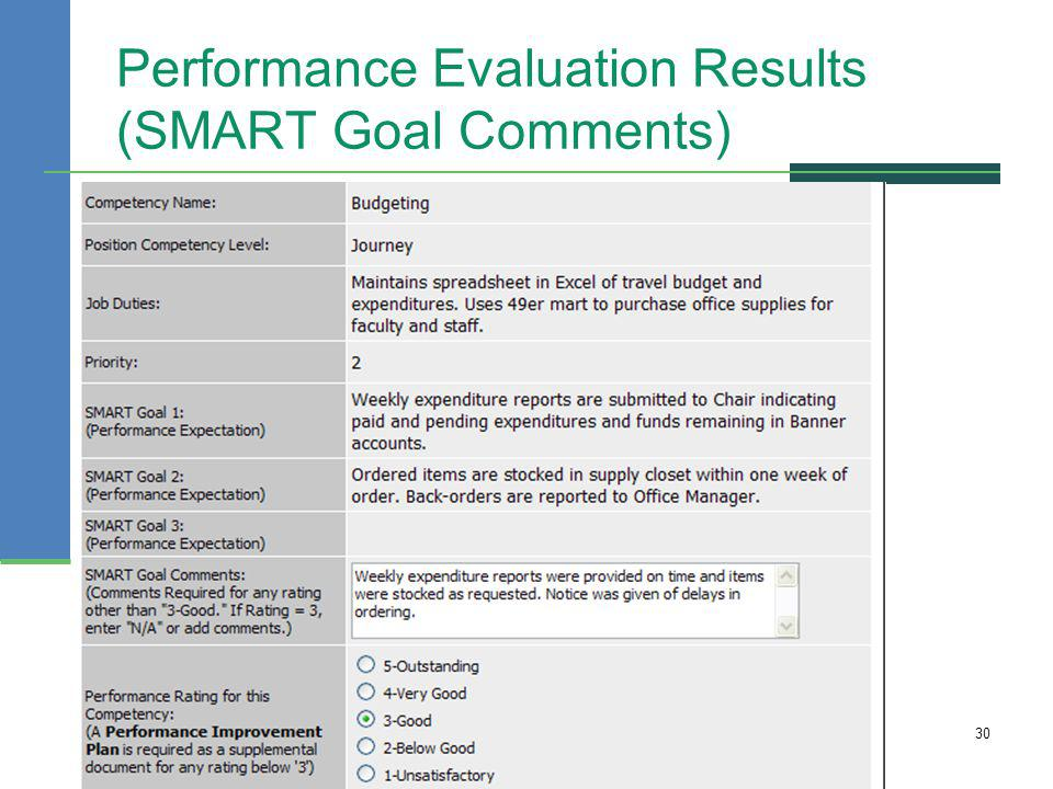 Performance Evaluation Results (SMART Goal Comments)
