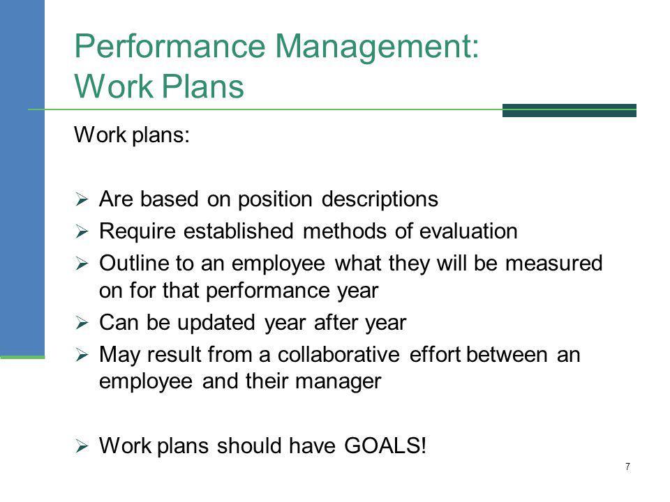 Performance Management: Work Plans