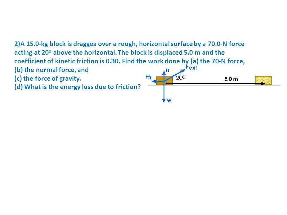 2)A 15. 0-kg block is dragges over a rough, horizontal surface by a 70
