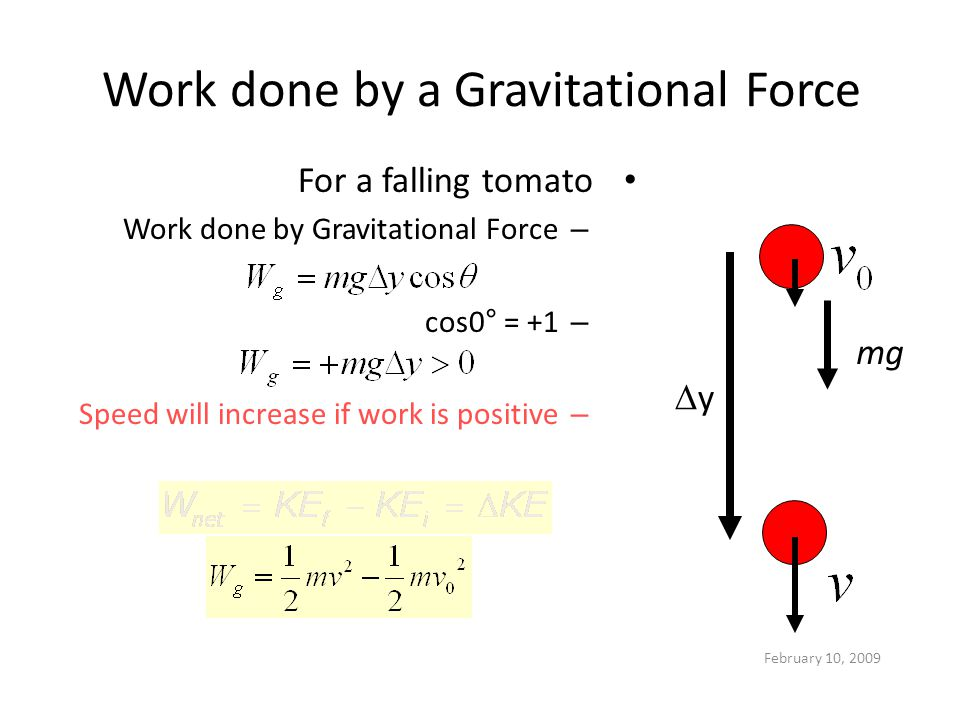 Work done by a Gravitational Force