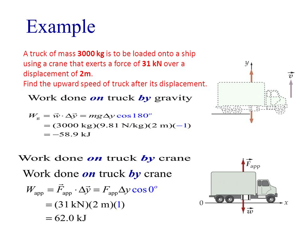 A truck of mass 3000 kg is to be loaded onto a ship using a crane that exerts a force of 31 kN over a displacement of 2m.