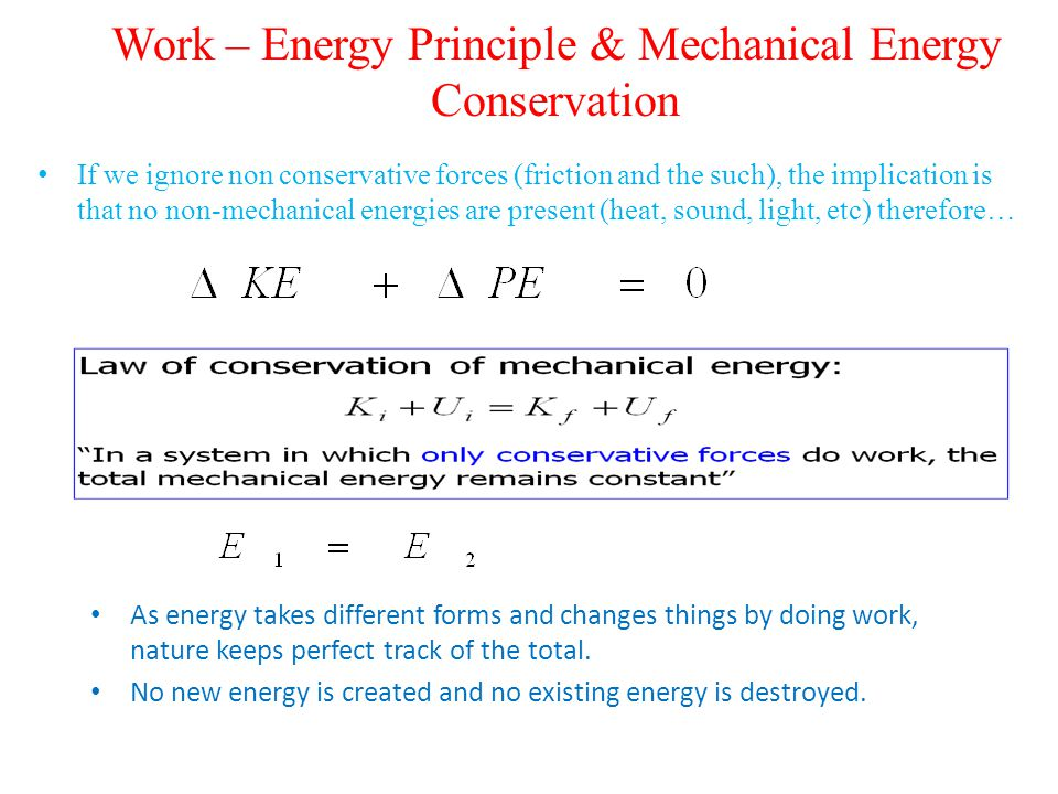 Work – Energy Principle & Mechanical Energy Conservation