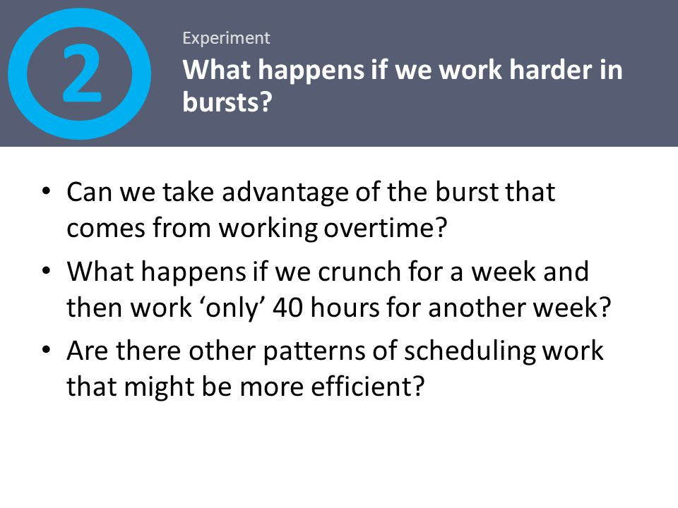 2 What happens if we work harder in bursts