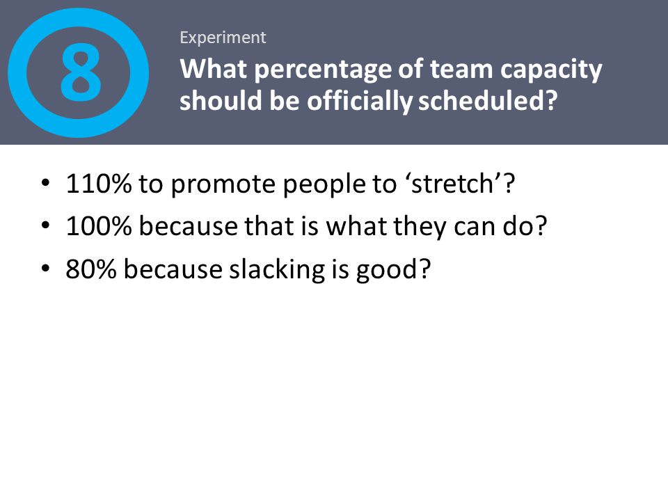 8 What percentage of team capacity should be officially scheduled