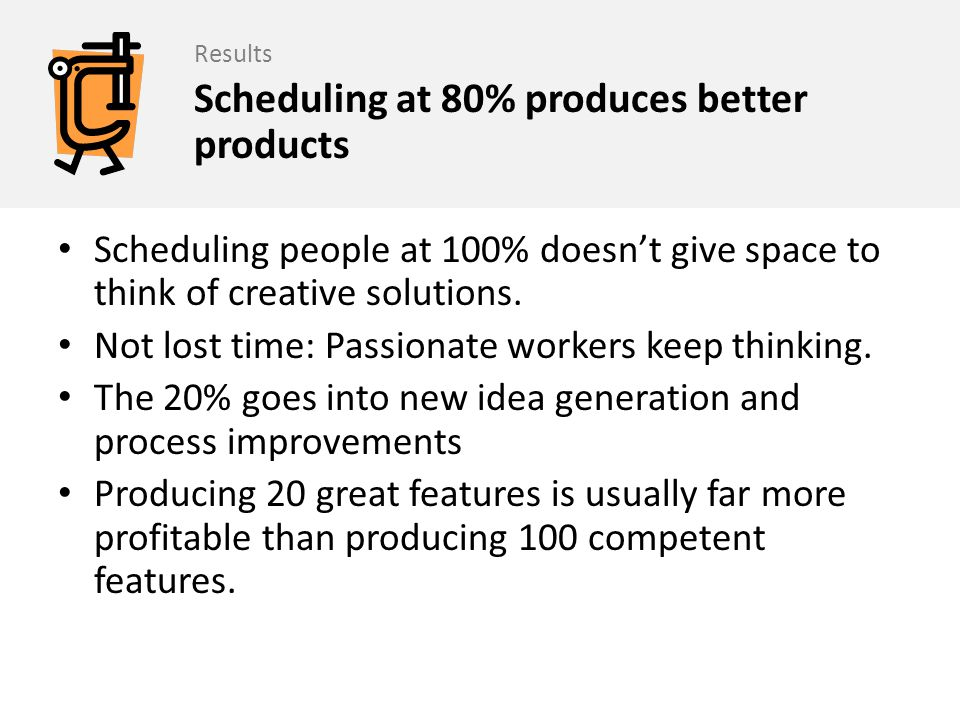 Scheduling at 80% produces better products