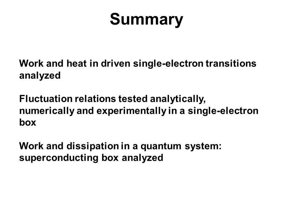 Summary Work and heat in driven single-electron transitions analyzed