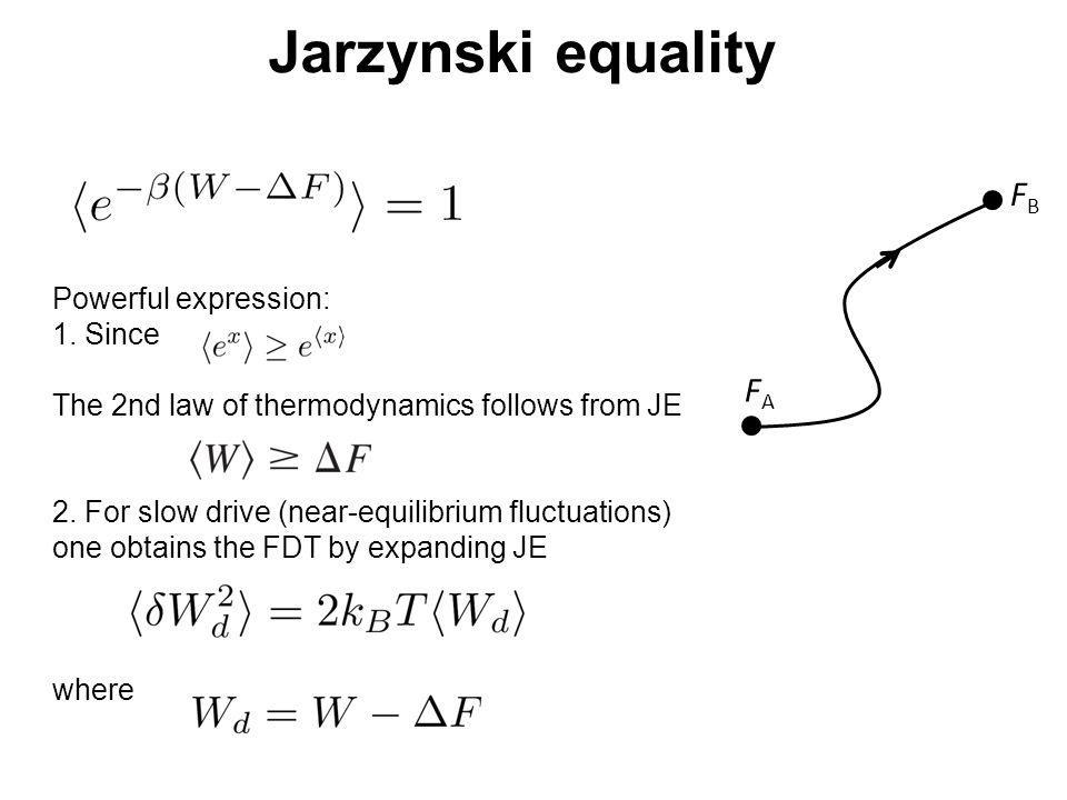Jarzynski equality FB FA Powerful expression: 1. Since