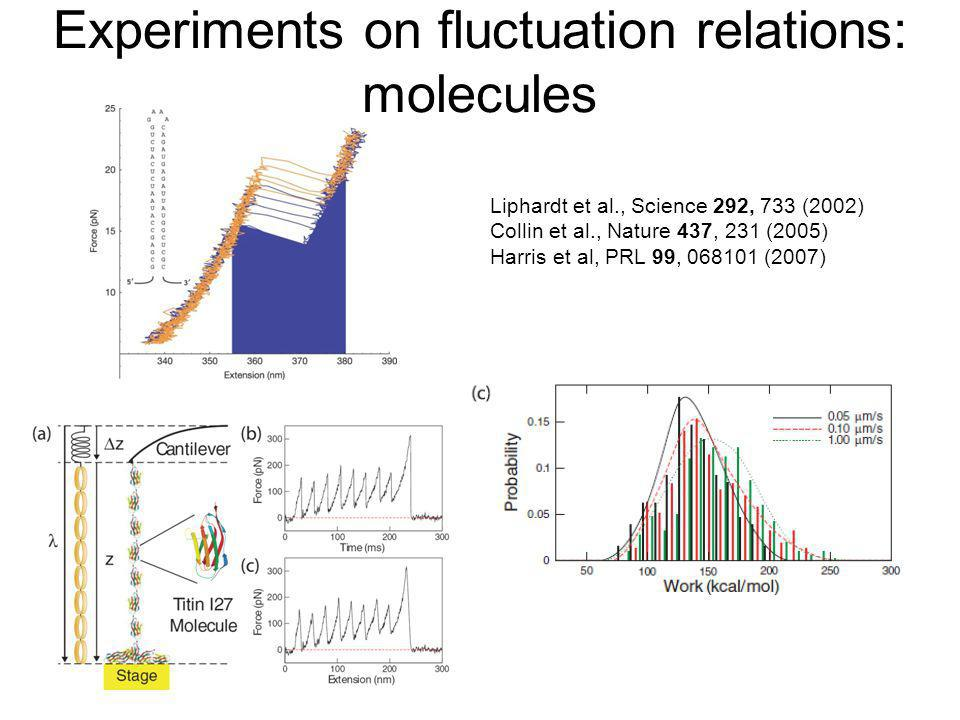Experiments on fluctuation relations: molecules