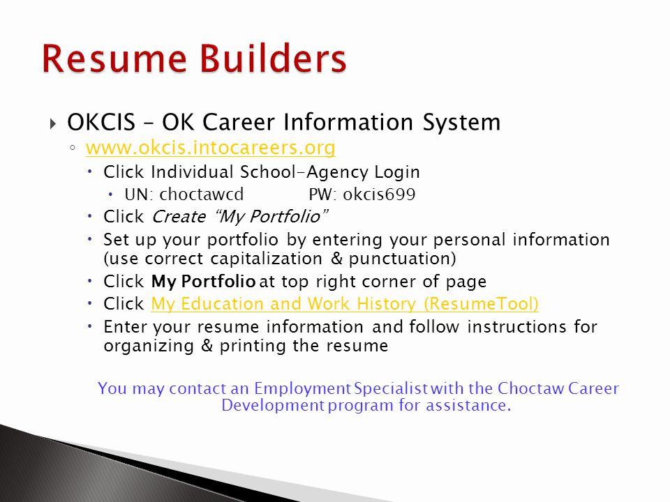 Resume Builders OKCIS – OK Career Information System