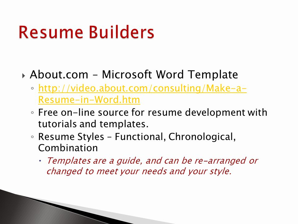 Resume Builders About.com – Microsoft Word Template