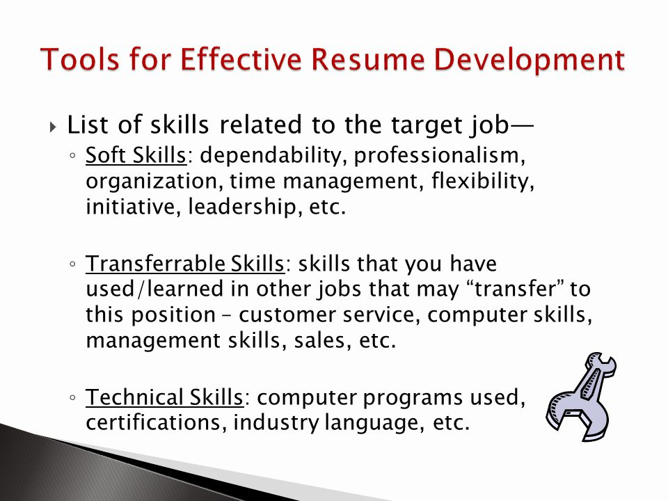 Tools for Effective Resume Development