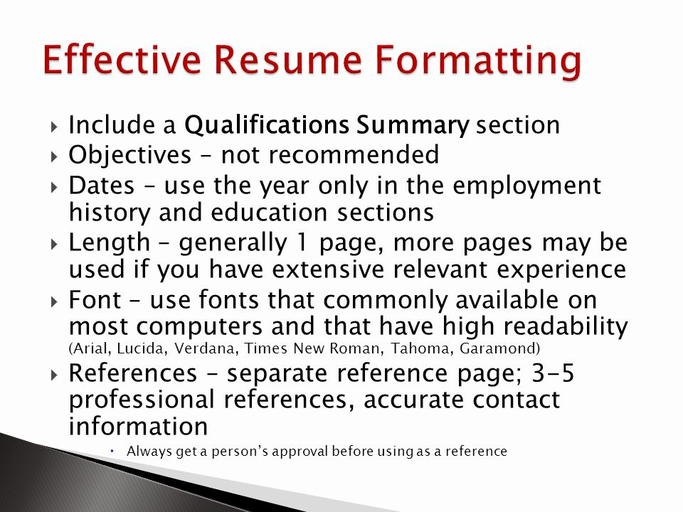 Effective Resume Formatting