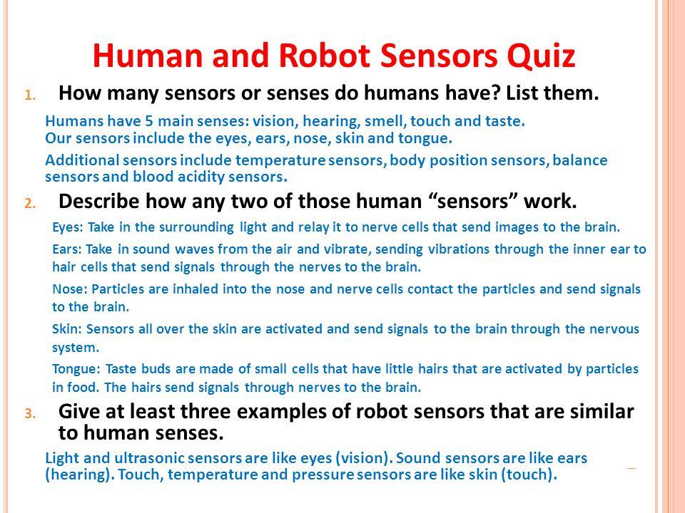 Human and Robot Sensors Quiz