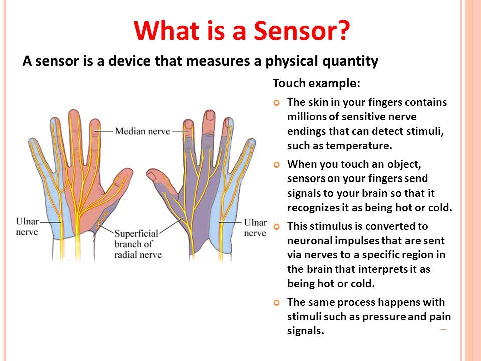 What is a Sensor A sensor is a device that measures a physical quantity. Touch example: