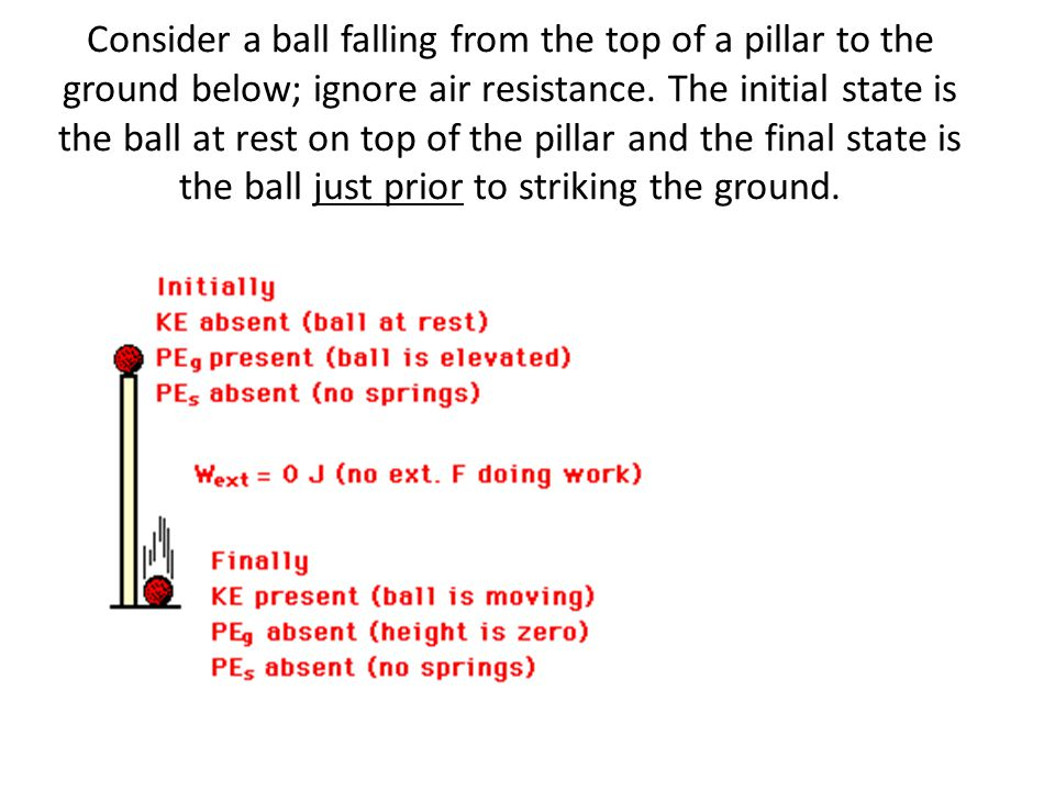 Consider a ball falling from the top of a pillar to the ground below; ignore air resistance. The initial state is the ball at rest on top of the pillar and the final state is the ball just prior to striking the ground.